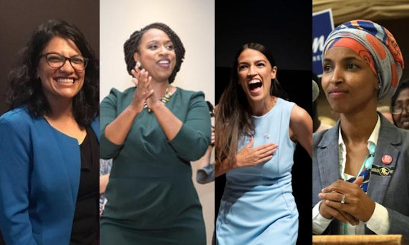 Congressional candidates Rashida Tlaib (Michigan), left, Ayanna Pressley (Massachusetts), Alexandria Ocasio-Cortez (New York) and Ilhan Omar (Minnesota)