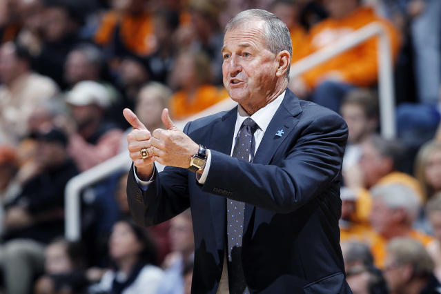 Connecticut Huskies head basketball coach Jim Calhoun looks on against the Tennessee Volunteers at Thompson-Boling Arena on January 21, 2012 in Knoxville, Tennessee. Tennessee defeated Connecticut 60-57. (Photo by Joe Robbins/Getty Images)