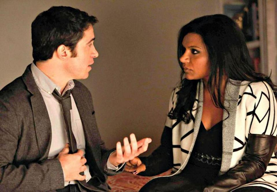 """<p>Looking back, we're glad the breakup happened on <a href=""""http://www.glamour.com/about/the-mindy-project?mbid=synd_yahoo_rss"""" rel=""""nofollow noopener"""" target=""""_blank"""" data-ylk=""""slk:The Mindy Project"""" class=""""link rapid-noclick-resp""""><em>The Mindy Project</em></a>. Without it, we wouldn't have had that <a href=""""http://www.glamour.com/entertainment/blogs/obsessed/2014/05/the-mindy-project-season-2-fin.html?mbid=synd_yahoo_rss"""" rel=""""nofollow noopener"""" target=""""_blank"""" data-ylk=""""slk:amazing finale"""" class=""""link rapid-noclick-resp"""">amazing finale</a>. But, still, when we watched the breakup episode, we almost threw the entire TV out the window. They belong together!</p> <p><a href=""""https://www.netflix.com/title/70242523"""" rel=""""nofollow noopener"""" target=""""_blank"""" data-ylk=""""slk:Streaming available on Netflix"""" class=""""link rapid-noclick-resp""""><em>Streaming available on Netflix</em></a></p>"""
