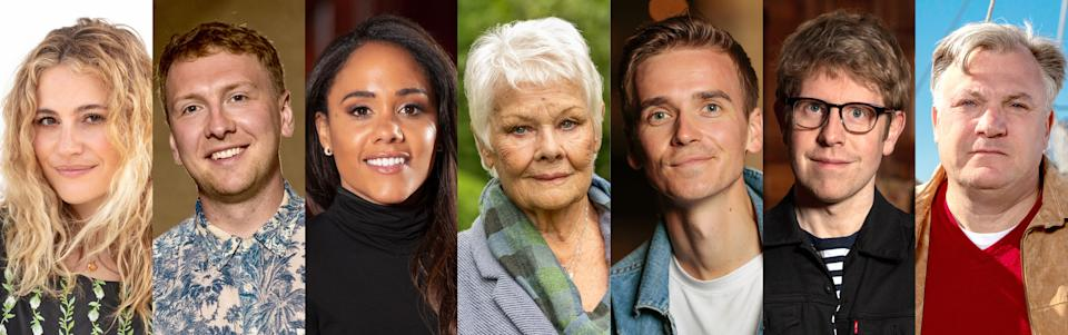Programme Name: Who Do You Think You Are? S18 - TX: n/a - Episode: Who Do You Think You Are? S18 - Announcement (No. Announcement) - Picture Shows:  Pixie Lott, Joe Lycett, Alex Scott, Dame Judi Dench, Joe Sugg, Josh Widdicombe, Ed Balls - (C) Wall to Wall Media Ltd - Photographer: Stephen Perry