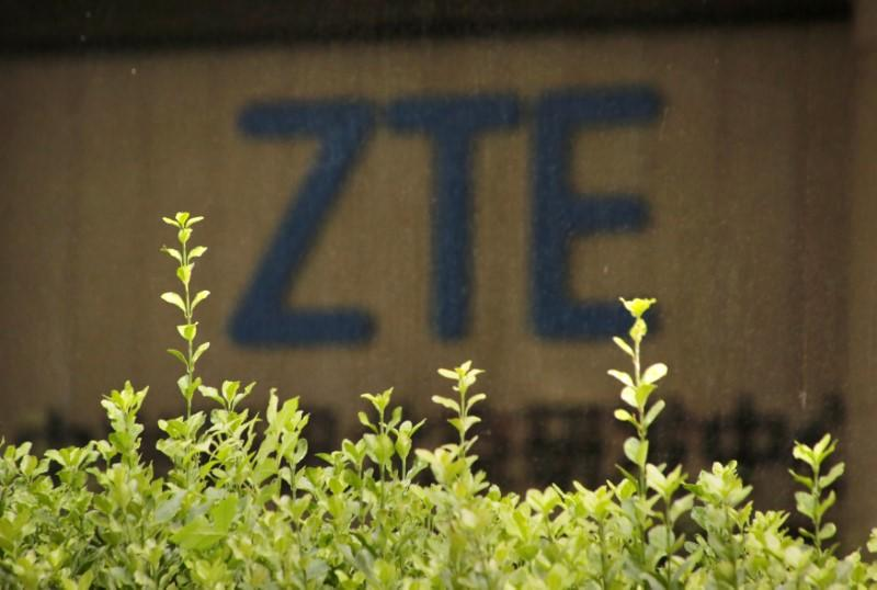 FILE PHOTO: The logo of China's ZTE Corp is seen at the lobby of ZTE Beijing research and development center building in Beijing