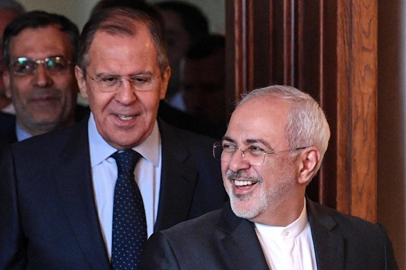 Russian Foreign Minister Sergei Lavrov (left) and his Iranian counterpart Mohammad Javad Zarif met last month in Moscow. The two men met again Monday to discuss how to salvage the Iran nuclear accord after Washington pulled out