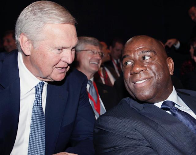 Deep ties between Jerry West and Magic Johnson don't mean West doesn't enjoy getting the best of his rival. (AP)