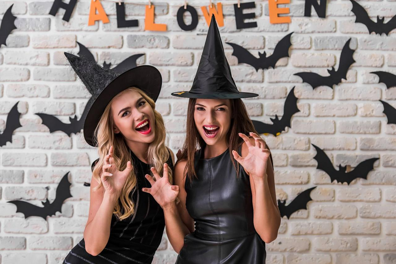 "<p>You both have black dresses, and this costume idea gives you an excuse to take a trip to Target together for matching witch hats.</p><p><a rel=""nofollow"" href=""https://www.target.com/s/witch+hats+costume"">SHOP WITCH HATS</a></p>"