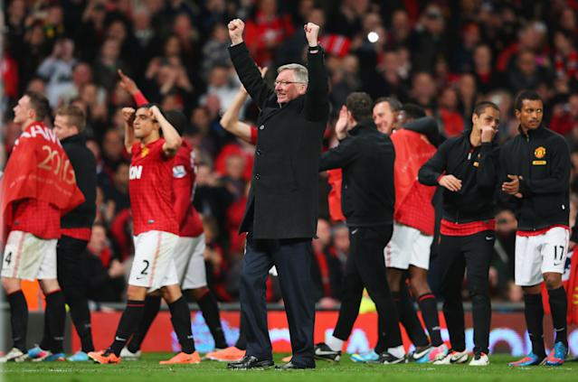 MANCHESTER, ENGLAND - APRIL 22: Sir Alex Ferguson, manager of Manchester United celebrates victory and winning the Premier League title after the Barclays Premier League match between Manchester United and Aston Villa at Old Trafford on April 22, 2013 in Manchester, England. (Photo by Alex Livesey/Getty Images)