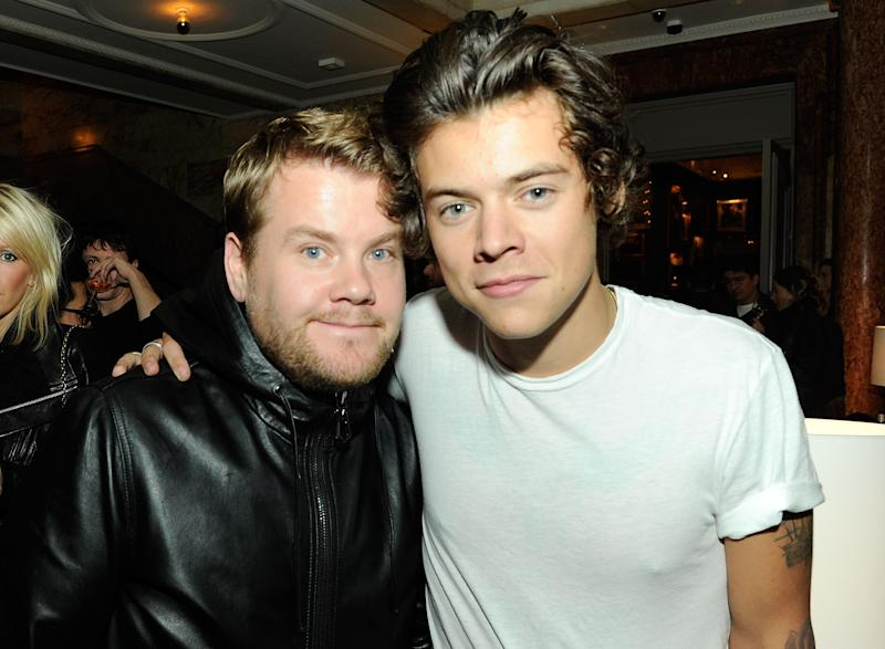 LONDON, ENGLAND - SEPTEMBER 14: (L-R) James Corden and Harry Styles attend The London Edition opening celebrating the September issue of W Magazine at The London Edition Hotel on September 14, 2013 in London, England. (Photo by David M. Benett/Getty Images for The London Edition)