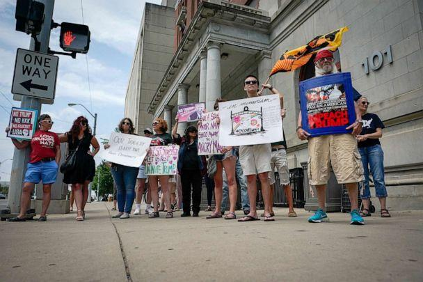 PHOTO: A small group of protesters gather at city hall in opposition to U.S. President Donald Trump visit to Dayton following a mass shooting in Dayton, Ohio, Aug. 6, 2019. (Bryan Woolston/Reuters)