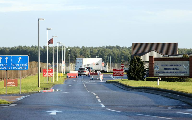 RAF Mildenhall was in lockdown on Monday (Picture: PA)