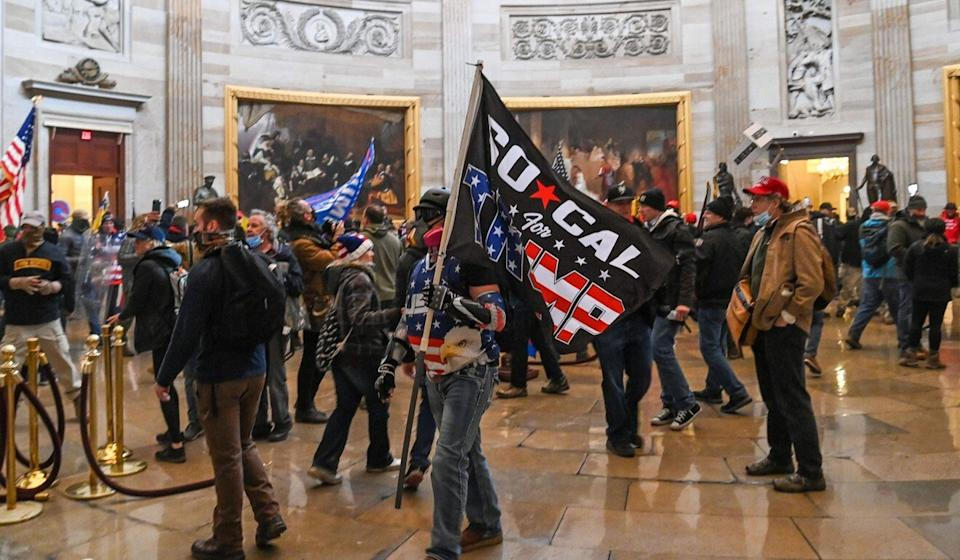 Rioters supporting President Donald Trump inside the US Capitol building on Wednesday. Photo: AP