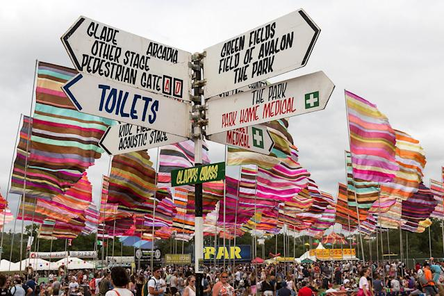 <p>A sign post at the Glastonbury music festival at Worthy Farm, in Somerset, England, Thursday, June 22, 2017. (Photo: Grant Pollard/Invision/AP) </p>