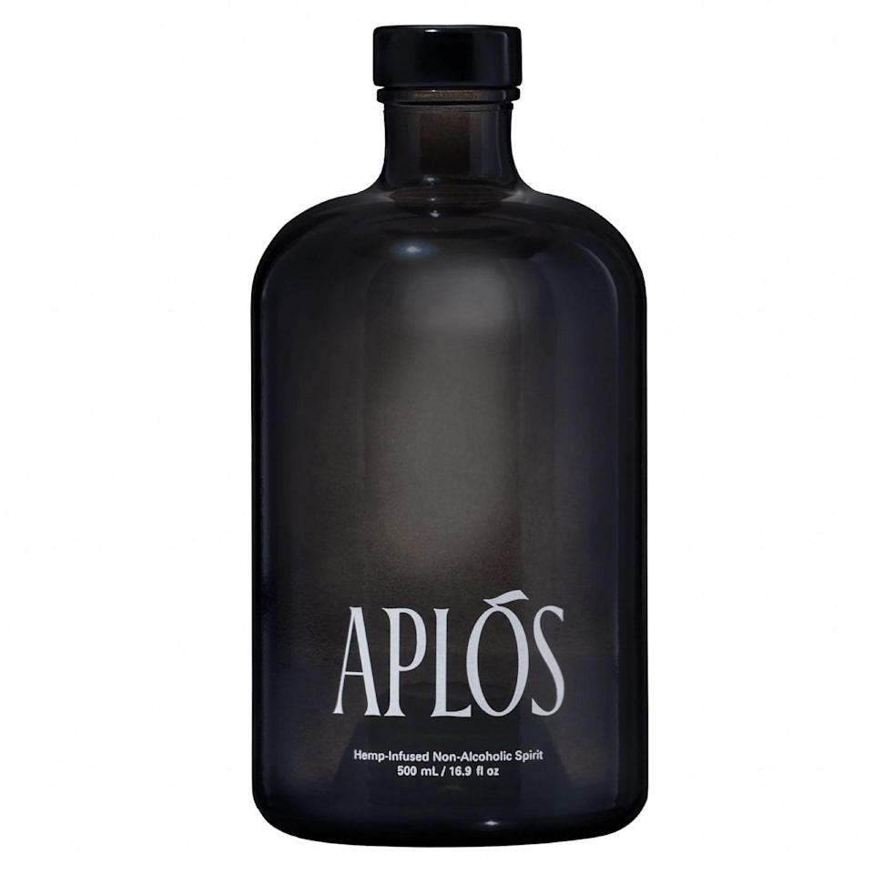 """As the industry's first hemp-infused nonalcoholic spirit, Aplós is one to watch. Hailing from Hudson, New York, the brand's debut blend is organically grown and sugar-free, and uses active compounds called cannabinoids, which may help <a href=""""https://www.ncbi.nlm.nih.gov/pmc/articles/PMC6326553/"""" rel=""""nofollow noopener"""" target=""""_blank"""" data-ylk=""""slk:regulate mood and sleep"""" class=""""link rapid-noclick-resp"""">regulate mood and sleep</a>. Available in small batches now, the plant-based beverage is pure and potent, and delivers nuanced notes of rosemary, cardamom, and citrus. Enjoy neat, on the rocks, or in one of Aplós's <a href=""""https://aplos.world/blogs/recipes"""" rel=""""nofollow noopener"""" target=""""_blank"""" data-ylk=""""slk:recommended recipes"""" class=""""link rapid-noclick-resp"""">recommended recipes</a>. $48, Aplós. <a href=""""https://aplos.world/products/aplos"""" rel=""""nofollow noopener"""" target=""""_blank"""" data-ylk=""""slk:Get it now!"""" class=""""link rapid-noclick-resp"""">Get it now!</a>"""