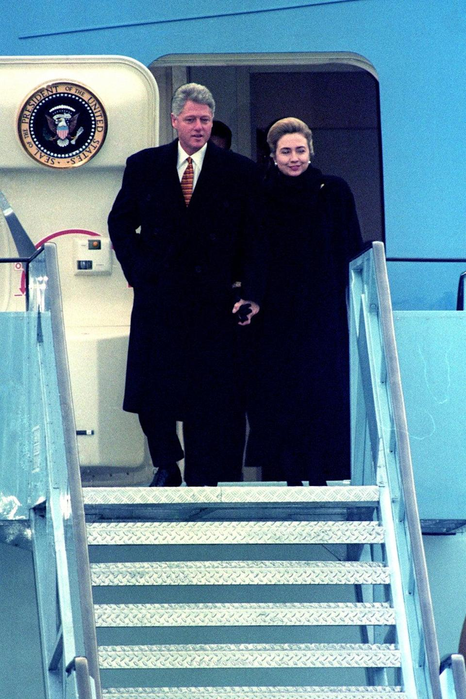 President Bill Clinton and first lady Hillary Clinton arrive in Belfast in the 1990s (PA) (PA Archive)