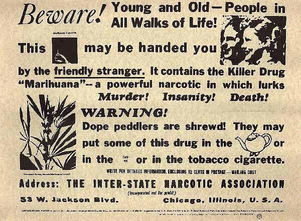 An advertisement distributed by the Federal Bureau of Narcotics in 1935.