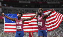 <p>Kenneth Bednarek, of United States, silver, and Noah Lyles, of United States, bronze, react after the final of the men's 200-meters at the 2020 Summer Olympics, Wednesday, Aug. 4, 2021, in Tokyo, Japan. (AP Photo/Francisco Seco)</p>