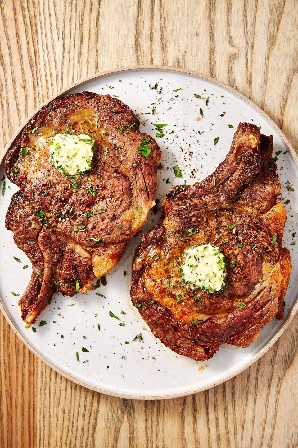"""<p>A perfectly seared steak with a tab of herb butter that's all diet-friendly? Now, <em>that's</em> our kind of recipe.</p><p>Get the recipe from <a href=""""https://www.delish.com/cooking/recipe-ideas/a28638368/air-fryer-steak-recipe/"""" rel=""""nofollow noopener"""" target=""""_blank"""" data-ylk=""""slk:Delish"""" class=""""link rapid-noclick-resp"""">Delish</a>.</p>"""