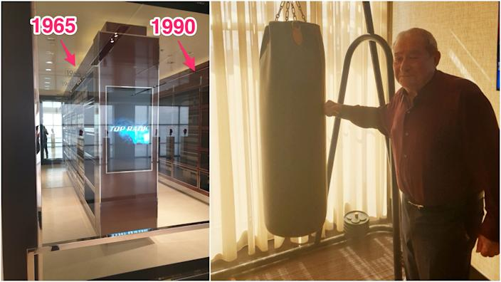 The Top Rank fight library and Bob Arum with his office punching bag.