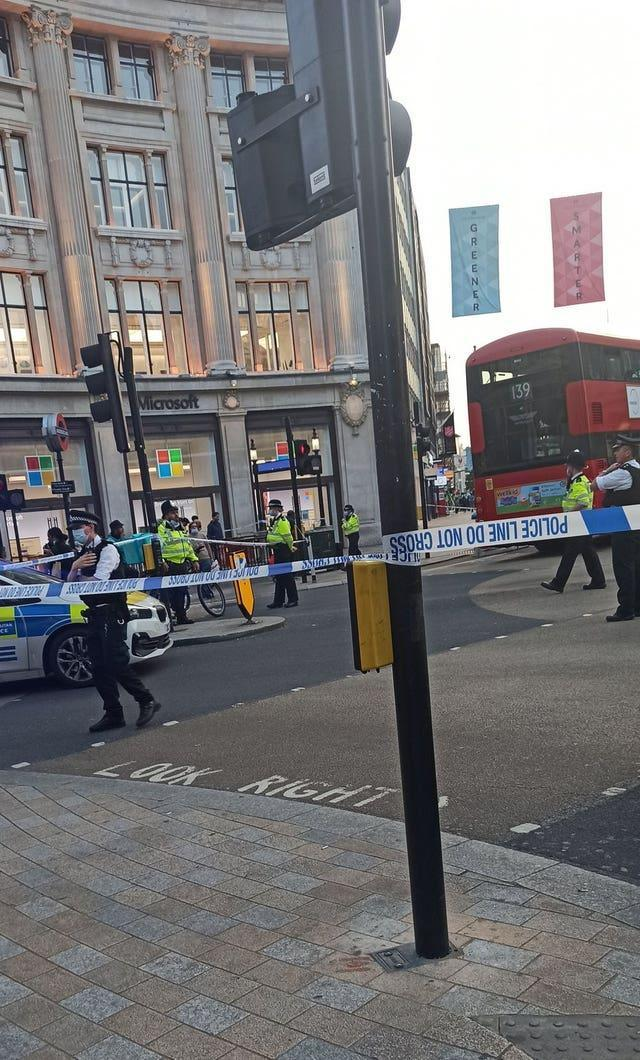 Picture taken with permission from the Twitter feed of @okubax following an incident at Oxford Circus, central London