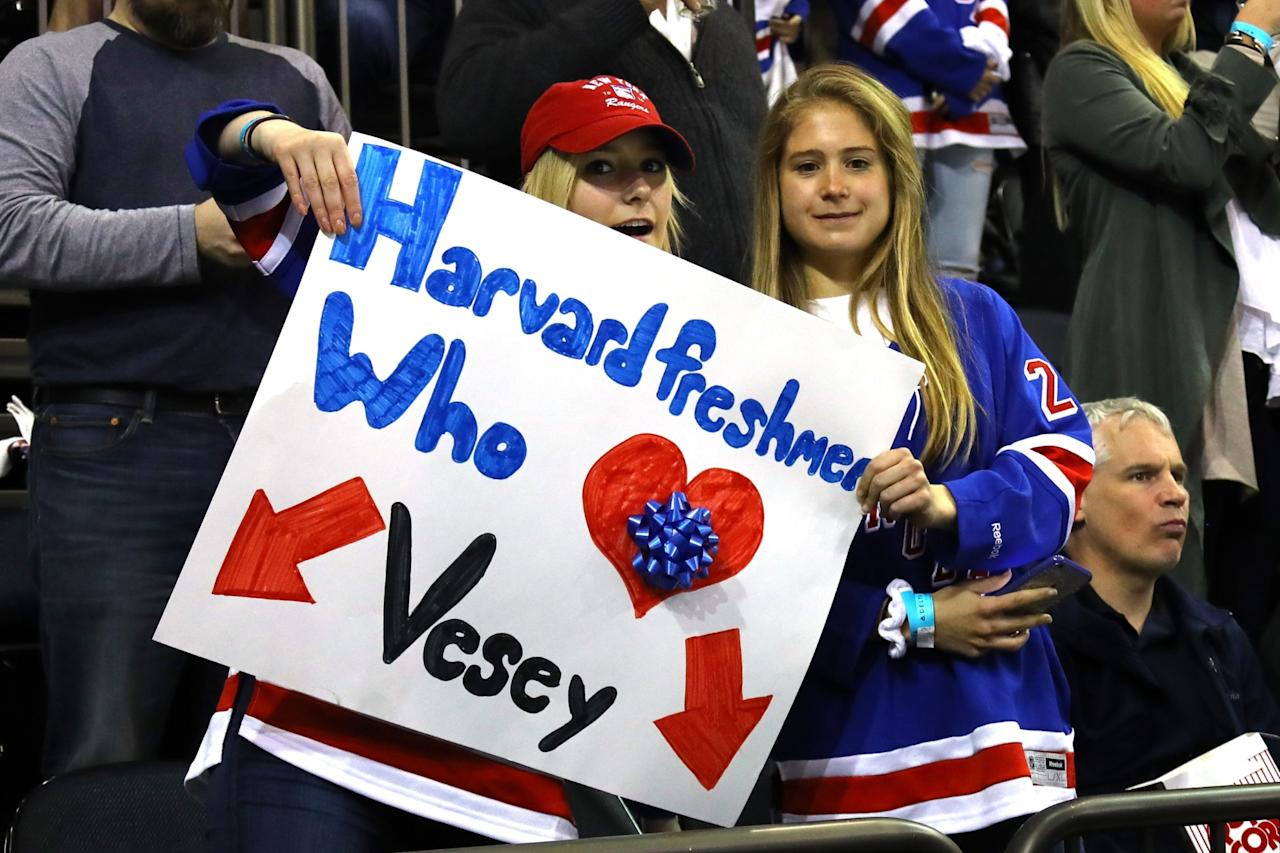 """<p>New York Rangers fans hold a sign that reads, """"Harvard Freshmen Who Heart Vesey"""" prior to in Game Six against the Ottawa Senators of the Eastern Conference Second Round during the 2017 NHL Stanley Cup Playoffs at Madison Square Garden on May 9, 2017 in New York City. (Photo by Bruce Bennett/Getty Images) </p>"""
