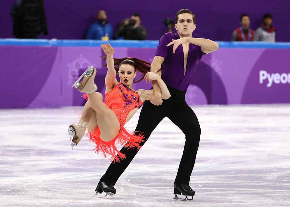<p>French ice skating duo Marie-Jade Lauriault Romain Le Gac began skating together in 2014. Their relationship turned personal not long after that and were married the following year. (Getty) </p>
