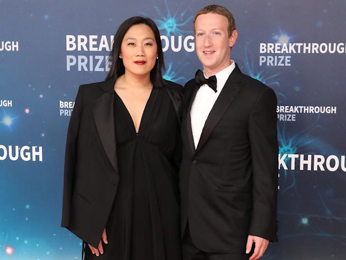 """Mark Zuckerberg and Priscilla Chan. <p class=""""copyright"""">Taylor Hill/Getty Images</p>"""