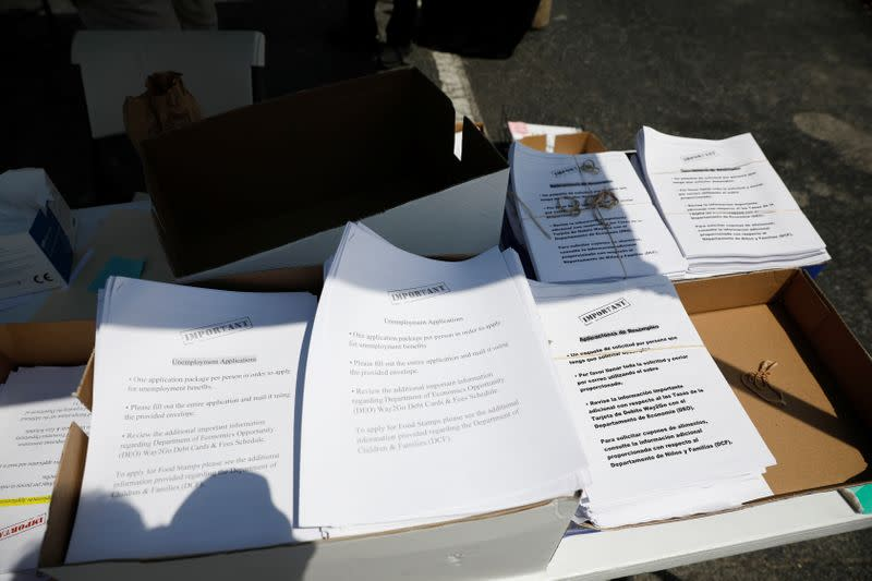 Unemployment forms are seen during an operation to hand them out, as the outbreak of coronavirus disease (COVID-19) continues, in Hialeah