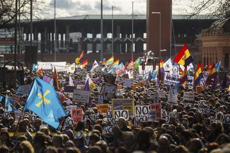 Thousands of people march to protest a government plan to limit abortions, in Madrid