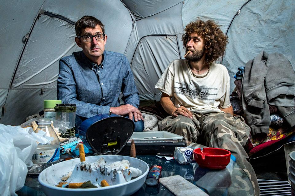 Theroux met with heroin addicts. Copyright: [BBC]