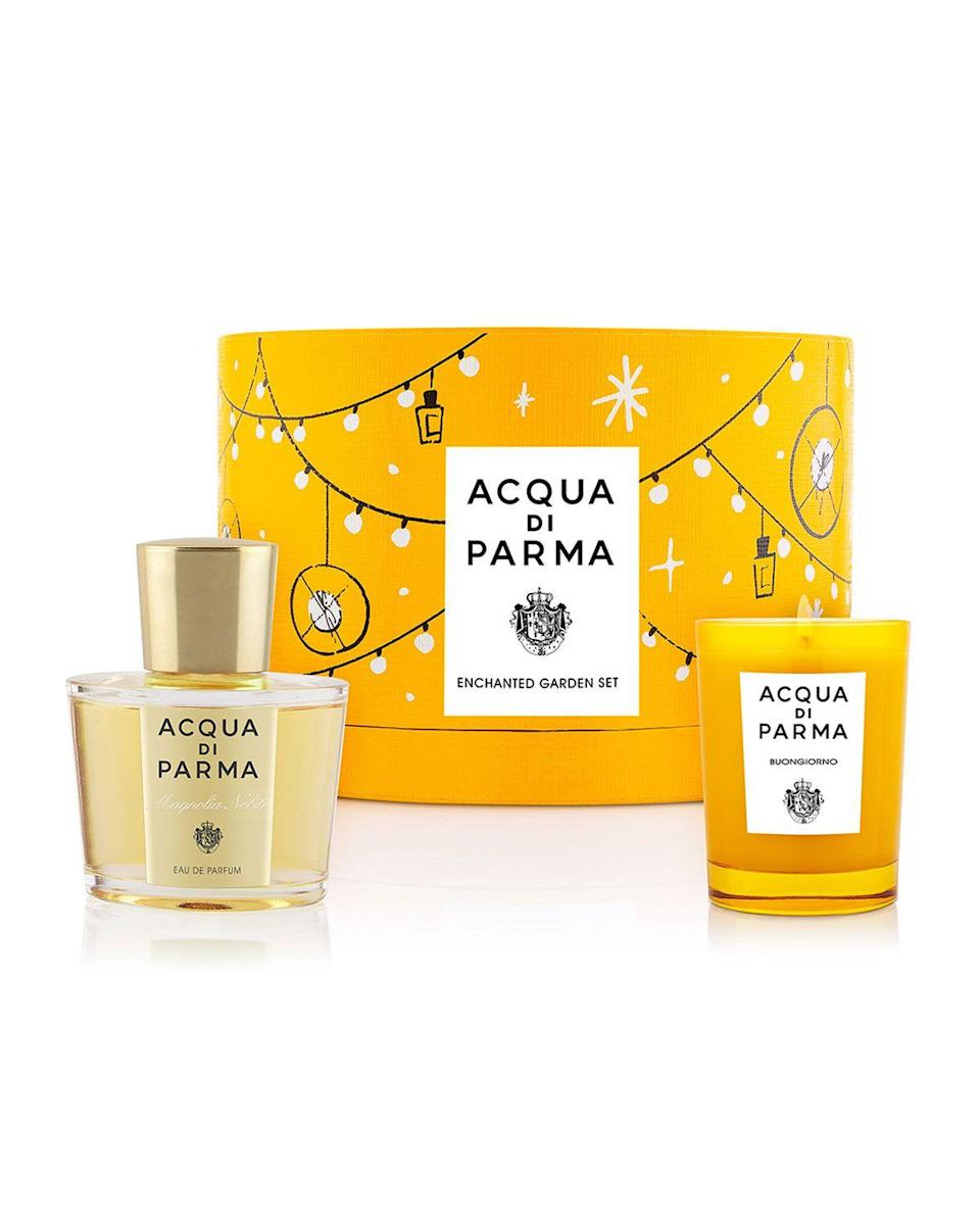 "<p><strong>Acqua di Parma</strong></p><p>https://www.neimanmarcus.com</p><p><strong>$150.00</strong></p><p><a href=""https://go.redirectingat.com?id=74968X1596630&url=https%3A%2F%2Fwww.neimanmarcus.com%2Fp%2Facqua-di-parma-enchanted-garden-set-prod236550169&sref=https%3A%2F%2Fwww.redbookmag.com%2Flife%2Fg34995902%2Fneiman-marcus-gift-guide%2F"" rel=""nofollow noopener"" target=""_blank"" data-ylk=""slk:Shop Now"" class=""link rapid-noclick-resp"">Shop Now</a></p>"