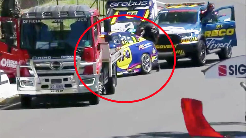 Will Brown, pictured here after crashing just minutes into the new Supercars season.