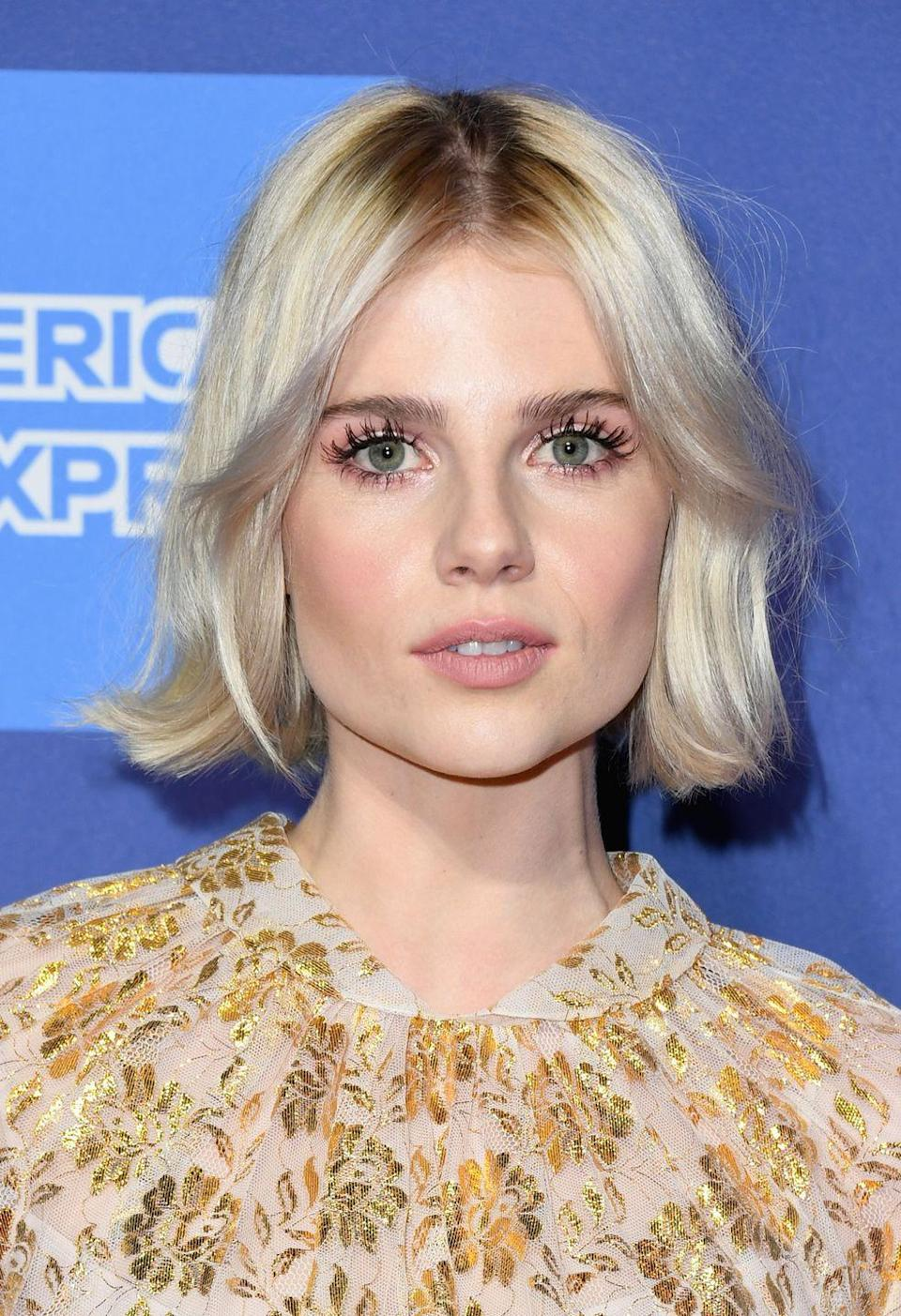 <p>OTT dolly lashes gave Lucy Boynton a wide awake 60s-insipred look.</p>