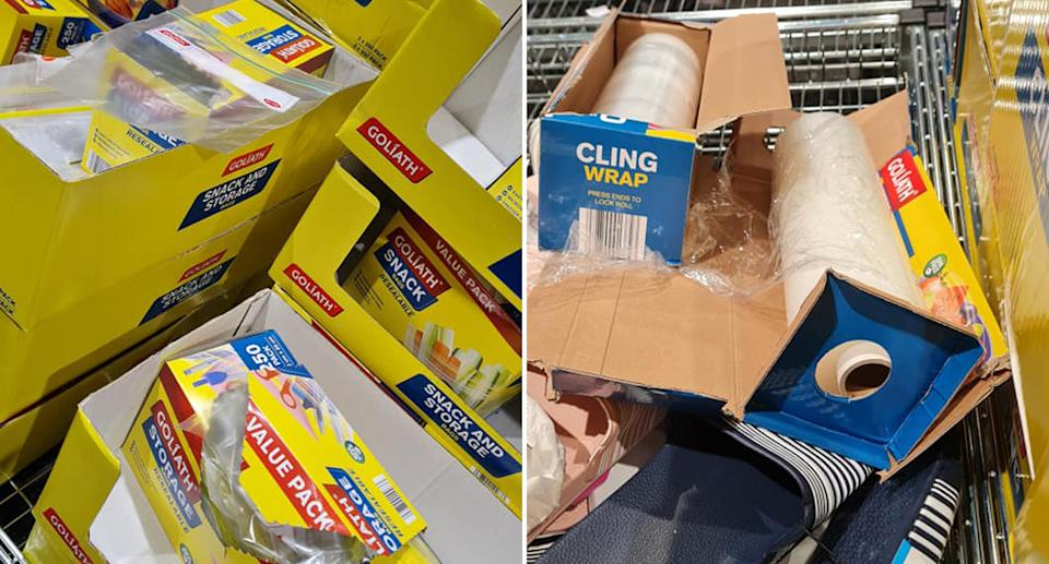 ALDI products opened in store and left behind