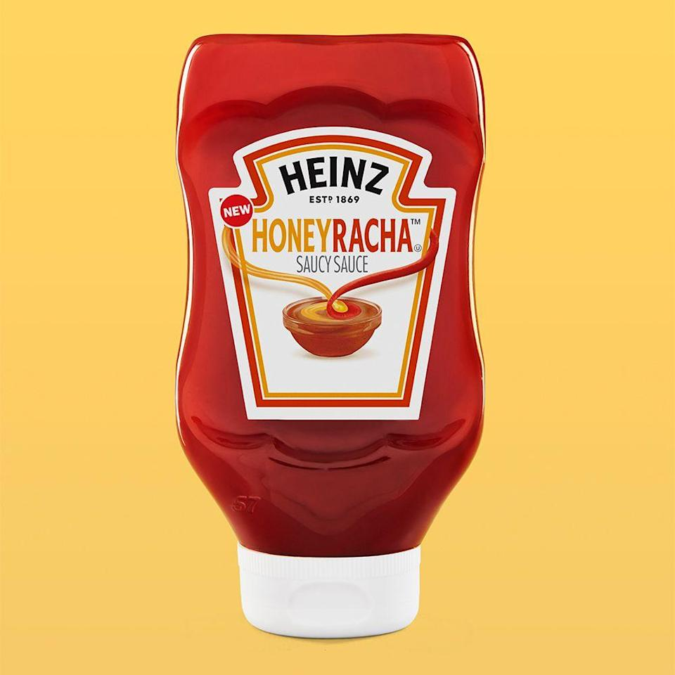 """<p><strong>Release date:</strong> Spring 2020</p><p>What do you get when you mix honey and Sriracha hot sauce? Heinz's latest creation, of course! <a href=""""https://www.bestproducts.com/lifestyle/a30420862/heinz-honeyracha-honey-sriracha-sauce/"""" rel=""""nofollow noopener"""" target=""""_blank"""" data-ylk=""""slk:HoneyRacha"""" class=""""link rapid-noclick-resp"""">HoneyRacha</a> is a new condiment that you can use on all of your cooked, grilled, and sautéed dishes.</p>"""