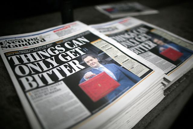 An Evening Standard headline about austerity in 2013, before chancellor George Osborne, pictured, years later became editor of the paper. (Matthew Lloyd/Getty Images)