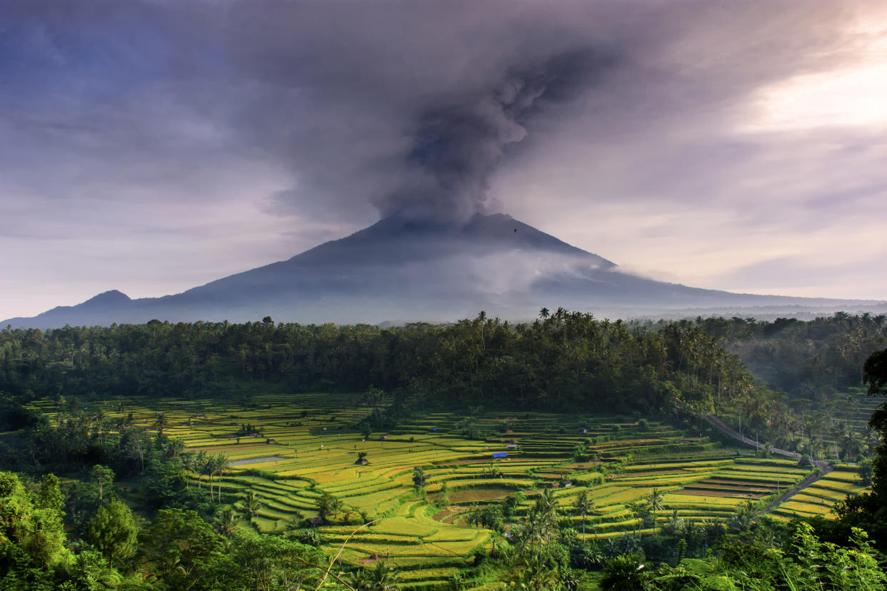 morning scenery with the eruption of mount Agung, Bali taken at 11/27/2017 from beaskih area