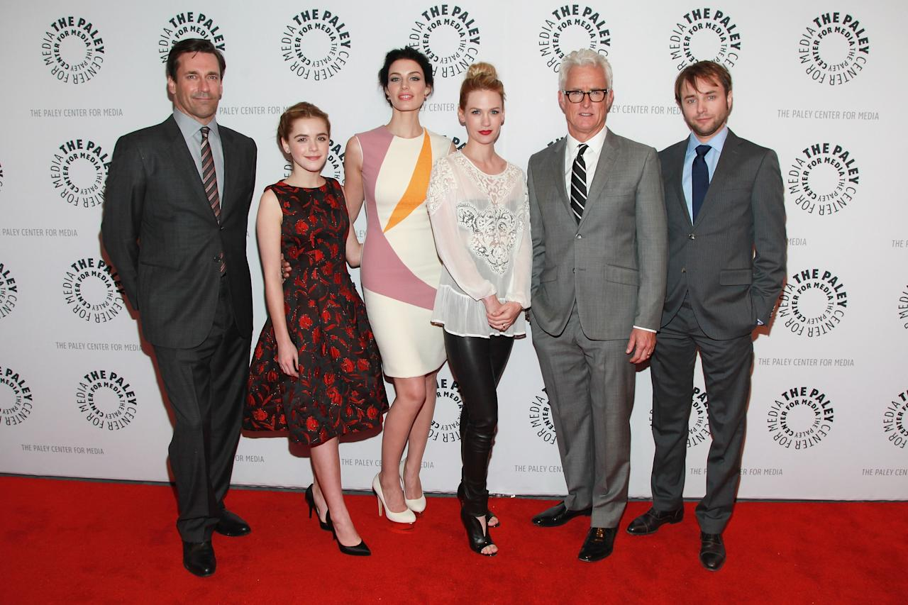 "NEW YORK, NY - APRIL 23:  Actors Jon Hamm, Kiernan Shipka, Jessica Pare, January Jones, John Slattery, and Vincent Kartheiser attend The Paley Center for Media presentation of ""Mad Men"" season 5 at The Paley Center for Media on April 23, 2013 in New York City.  (Photo by Taylor Hill/Getty Images)"