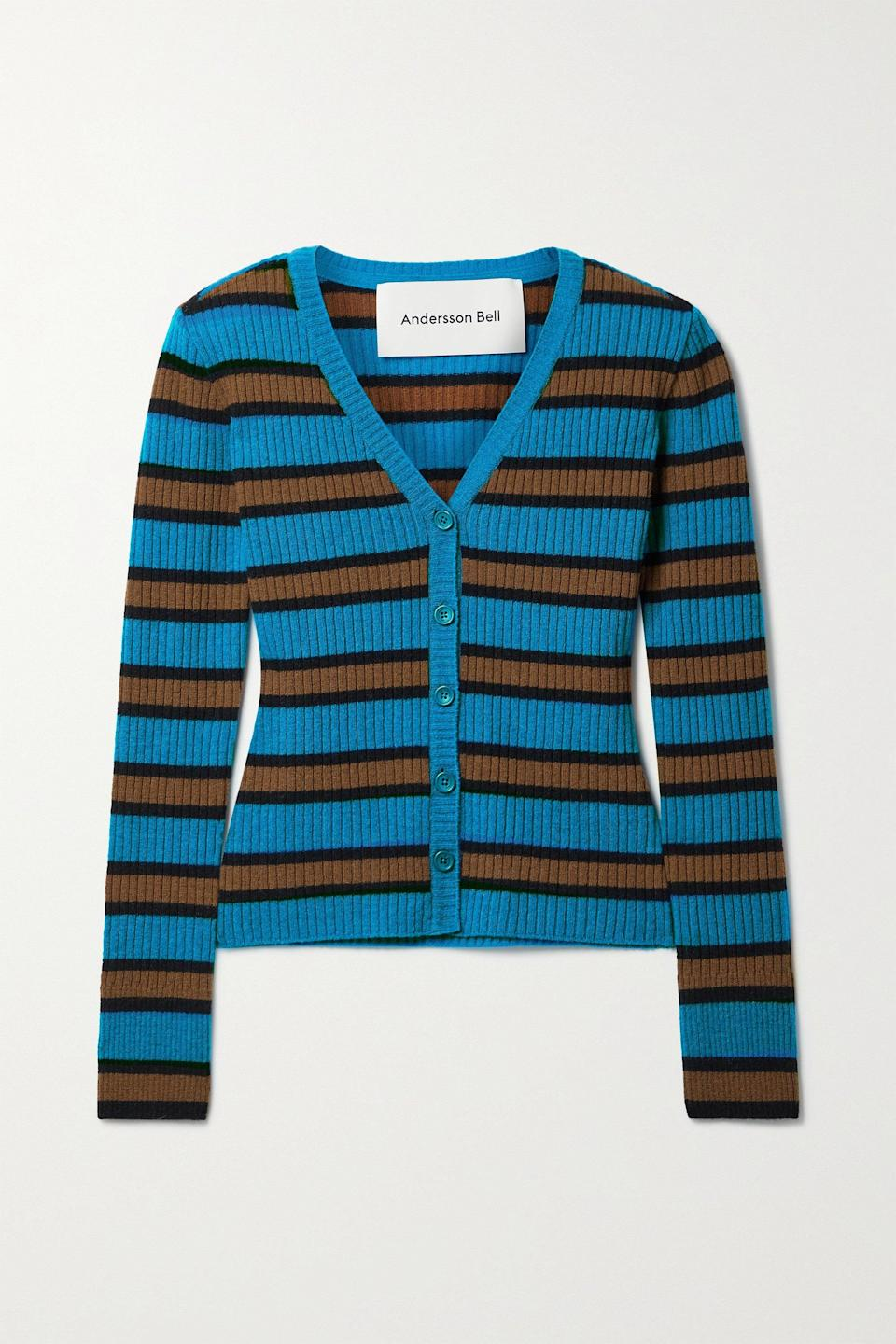 """<br><br><strong>Andersson Bell</strong> Ribbed Striped Cardigan, $, available at <a href=""""https://go.skimresources.com/?id=30283X879131&url=https%3A%2F%2Fwww.net-a-porter.com%2Fen-us%2Fshop%2Fproduct%2Fandersson-bell%2Fribbed-striped-wool-blend-cardigan%2F1300049"""" rel=""""nofollow noopener"""" target=""""_blank"""" data-ylk=""""slk:Net-A-Porter"""" class=""""link rapid-noclick-resp"""">Net-A-Porter</a>"""
