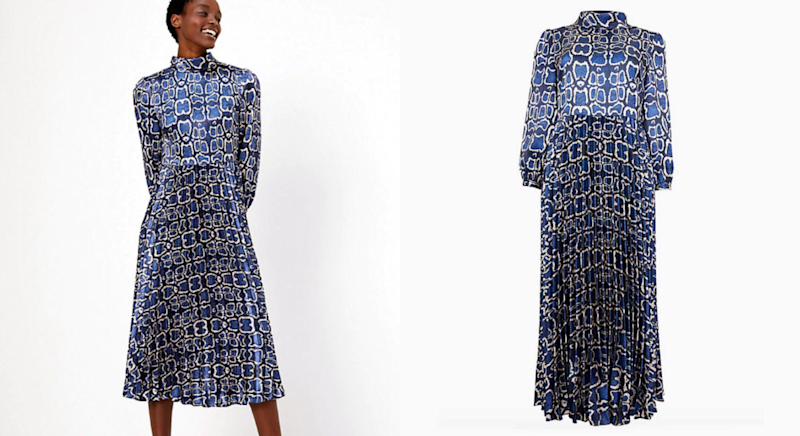 The midi dress has had a Christmas makeover. [Photo: Marks & Spencer]