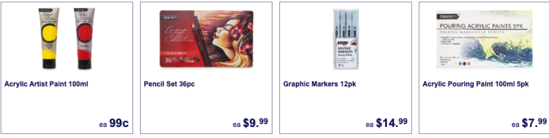 Art supplies on sale as Aldi specials this week.