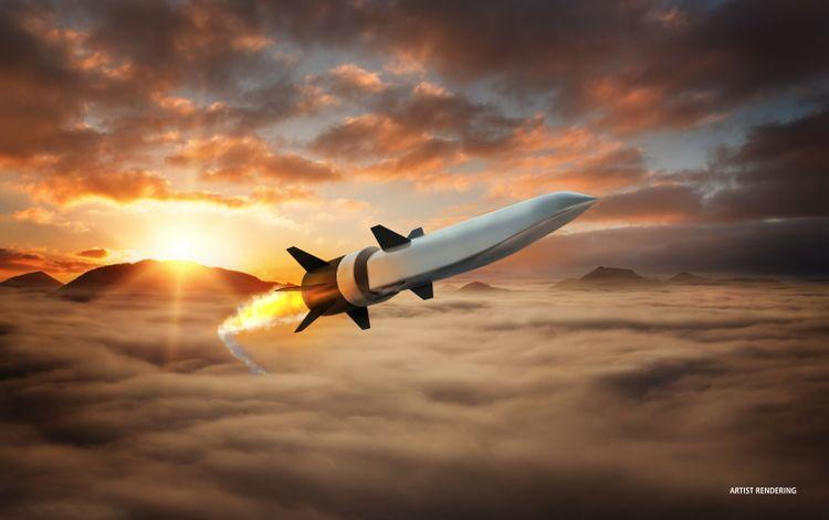 Rendering of a hypersonic missile cruising through the sky.