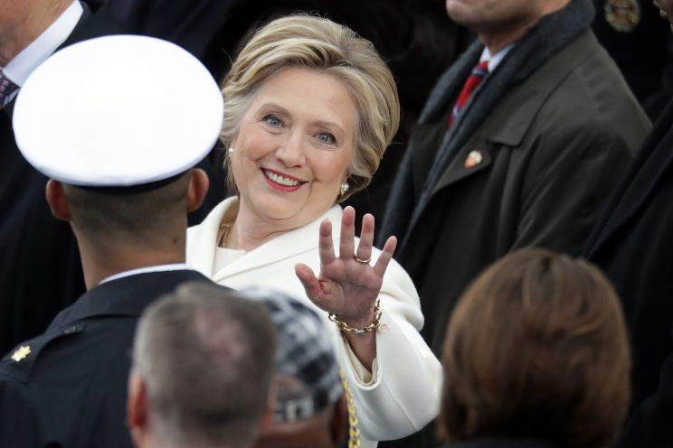 Former Democratic presidential nominee Hillary Clinton arrives on the West Front of the U.S. Capitol on January 20, 2017 in Washington, DC. (Photo: Chip Somodevilla/Getty Images)
