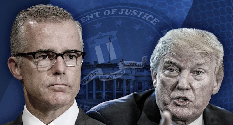 Former Acting Director of the FBI Andrew McCabe and U.S. President Donald Trump. (Yahoo News photo Illustration; photos: AP, Getty)