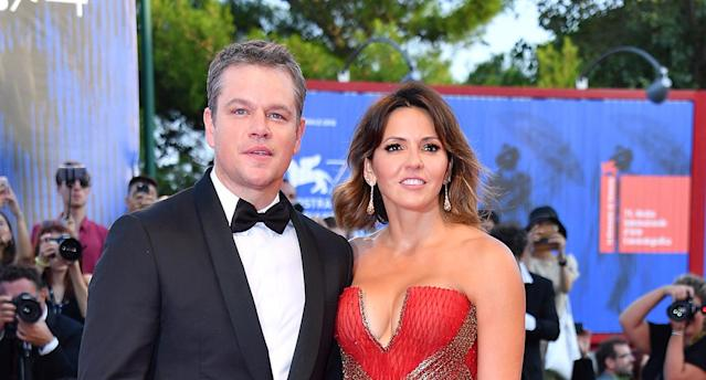 Matt Damon and Luciana Barroso walk the red carpet at the 74th Venice Film Festival in Venice, Italy. (Photo: Getty Images)