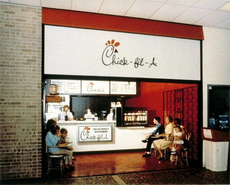 <p>The chicken sandwich giant was founded as the Dwarf Grill in 1946, but a rebrand to Chick-fil-A in 1967 coincided with the opening of this location in the Greenbriar Mall in Atlanta. It was one of the first indoor malls in the southeast, and thus Chick-fil-A one of the first restaurants to become a mall staple. </p>