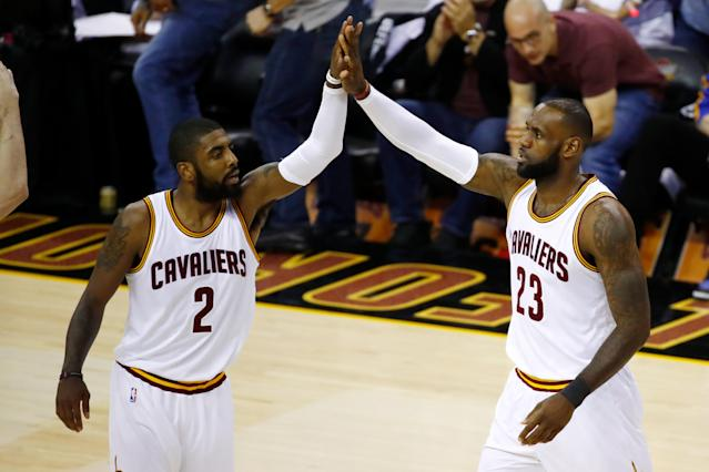 "<a class=""link rapid-noclick-resp"" href=""/nba/players/3704/"" data-ylk=""slk:LeBron James"">LeBron James</a> and <a class=""link rapid-noclick-resp"" href=""/nba/players/4840/"" data-ylk=""slk:Kyrie Irving"">Kyrie Irving</a> will no longer be teammates. (Getty)"