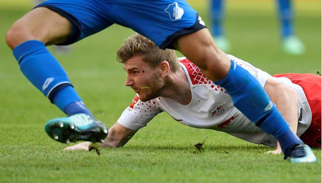 Soccer Football - Bundesliga - RB Leipzig vs TSG 1899 Hoffenheim - Red Bull Arena, Leipzig, Germany - April 21, 2018 RB Leipzig's Timo Werner reacts REUTERS/Matthias Rietschel DFL RULES TO LIMIT THE ONLINE USAGE DURING MATCH TIME TO 15 PICTURES PER GAME. IMAGE SEQUENCES TO SIMULATE VIDEO IS NOT ALLOWED AT ANY TIME. FOR FURTHER QUERIES PLEASE CONTACT DFL DIRECTLY AT + 49 69 650050 TPX IMAGES OF THE DAY