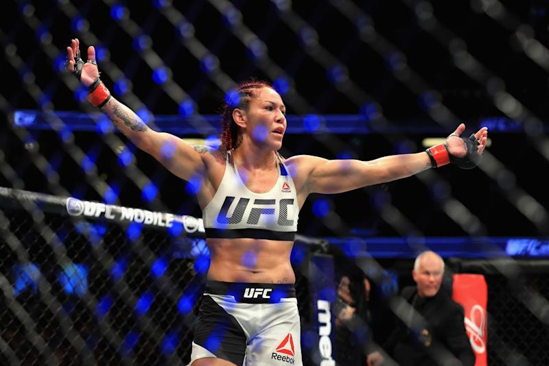 Cris Cyborg of Brazil reacts to defeating Tonya Evinger during their Featherweight Title fight at UFC 214 at Honda Center on July 29, 2017 in Anaheim, California.