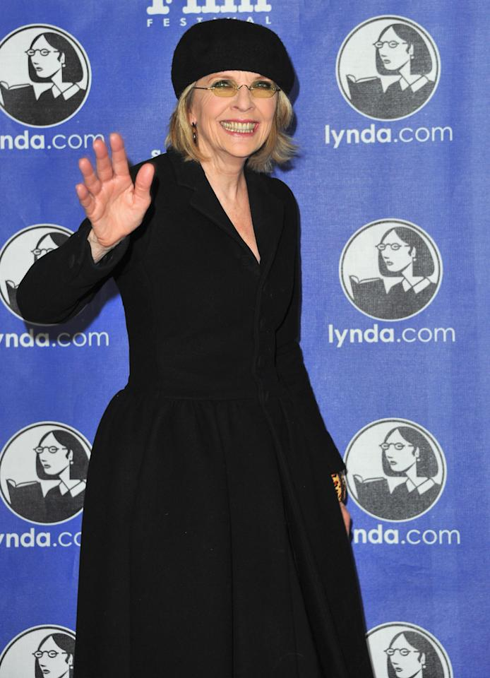 "SANTA BARBARA, CA - JANUARY 26:  Actress Diane Keaton arrives to the Santa Barbara International Film Festival's opening night premiere of Sony Pictures Classics' ""Darling Companion""  at Arlington Theatre on January 26, 2012 in Santa Barbara, California.  (Photo by Alberto E. Rodriguez/Getty Images)"