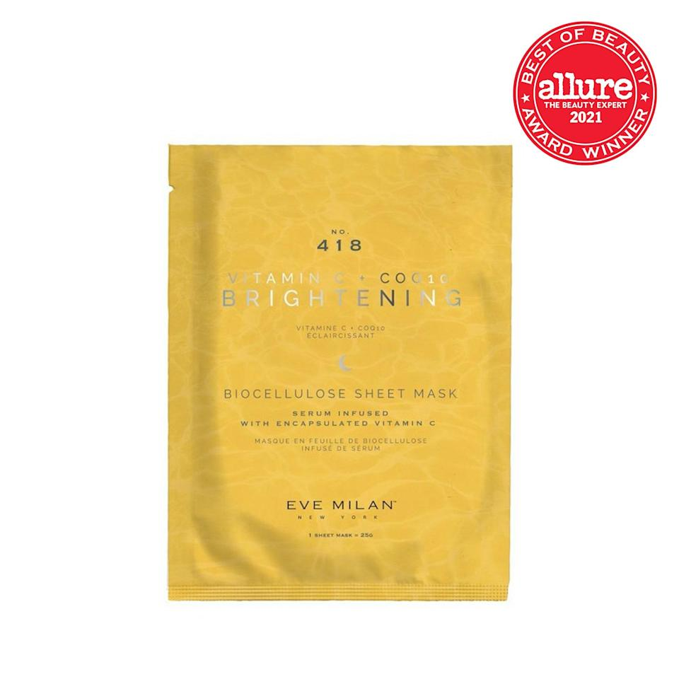 For an instant glow-up, <strong>Eve Milan New York Brightening Vitamin C + CoQ10</strong> <strong>Sheet Mask</strong> brightens and tightens with antioxidants and daisy extract.