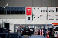 FILE PHOTO: The entrance to the construction site of the future Tesla Gigafactory in Gruenheide