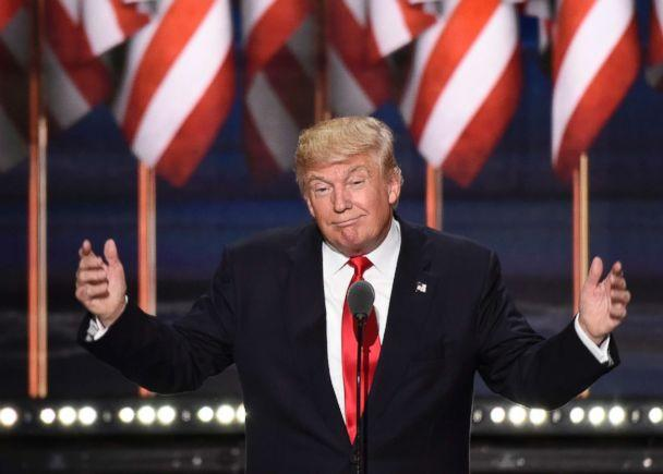 PHOTO: Donald Trump speaks on the final night of the 2016 Republican National Convention where he accepted the Republican party's nomination for President of the United States, at Quicken Loans Arena in Cleveland, July 21, 2016. (Ida Mae Astute/ABC, FILE)
